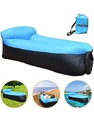 iRegro Longue Gonflable, Portable étanche Durable Lightweight Polyester Air Sofa extérieur avec oreiller pour Camping, parc, plage, jardin