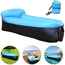 iRegro Sofa Hinchable, portátil impermeable Durable ligero poliéster sofá al aire libre aire con almohada para Camping, playa, parque, patio (Negro azul)