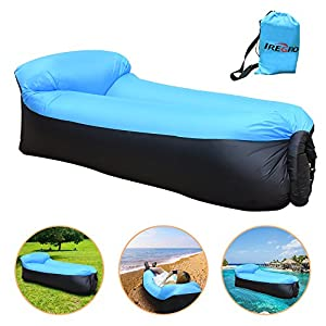iRegro Chaise Gonflable, Portable étanche Durable Poids léger Polyester Air Sofa extérieur avec oreiller pour Camping, parc, plage, jardin