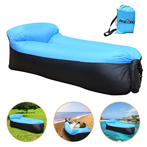 iRegro Divano Gonfiabile, portatile impermeabile durevole leggero poliestere esterno aria divano con cuscino per campeggio, parco, spiaggia, cortile (Nero blu)