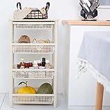 HEFEI 4 Tiers Badezimmer Platzsparendes Wandregal Küchenregal 40x 36 x 84 cm Verwendung im Badezimmer Wohnzimmer Küche Garage Weiß XIAOXIAO