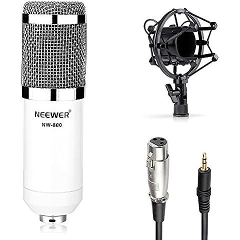 Neewer® NW-800 Kit di Microfono, Inclusi: (1) Professionale Microfono a Condensatore per Telecomunicazioni & Registrazioni + (1) Supporto Anti-vibrazione + (1) Antivento in Spugna Sferico + (1) Cavo Audio (Bianco) - Inoltre Pickup