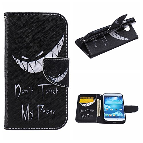 MOONCASE Galaxy S4 Hülle, [Don't Touch My Phone] Muster Schutzhülle Leder Tasche Brieftasche [Stoßdämpfende] TPU Case mit Standfunktion und Karte Halter für Samsung Galaxy S4 I9500
