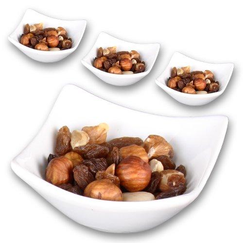 WOP ART Edle Porzellanschalen aus der Serie Quadro als Tischdeko. Snackschale, Dipschale im 2er oder 4er Set (4er Set)