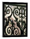 kunst für alle Bild mit Bilder-Rahmen: Gustave Caillebotte Blick durch EIN Balkongitter - dekorativer Kunstdruck, hochwertig gerahmt, 50x60 cm, Schwarz/Kante grau