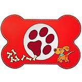 Unterlage - ' Hunde / Welpen - Knochen - ROT ' - 44 cm * 29 cm - Tischunterlage / Platzdeckchen / Knetunterlage / Malunterlage / Eßunterlage / Platzmatte - Platzset / Tischset - Tisch - Essen - abwischbar & abwaschbar - biegbar - für Kinder & Erwachsene - Schreibunterlage - Hund Haustier - Welpe / Hundehütte Kunststoff - Plastik - Kunststoffunterlage / Plastikunterlage