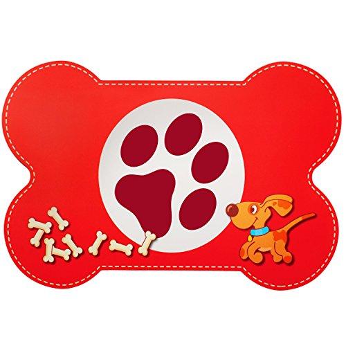 alles-meine GmbH Unterlage -  Hunde / Welpen - Knochen - ROT  - 44 cm * 29 cm - Tischunterlage / Platzdeckchen / Knetunterlage / Malunterlage / Eßunterlage / Platzmatte - Pl..