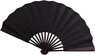 Generic Men's Spun Silk Blank Hand Fan Calligraphy Writing Dancing Folding Fan Black