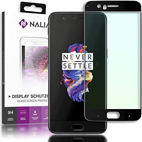 NALIA Schutzglas kompatibel mit OnePlus 5, 5D Full-Cover Bildschirmschutz Handy-Folie, Härte Glas-Schutzfolie Display-Abdeckung, Schutz-Film HD Screen Protector Tempered Glass - Transparent (schwarz)