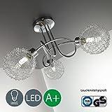 Lampada da soffitto a LED per soggiorno o salotto con 3 faretti I plafoniera moderna fantasia a braccia intrecciate con motivo a filo di ferro I include 3 lampadine da 3,5W I 230V I G9 I IP20