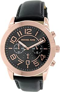 Chronograph Rose Gold Tone Stainless Steel Case Leather Strap Black Tone Dial Date Display