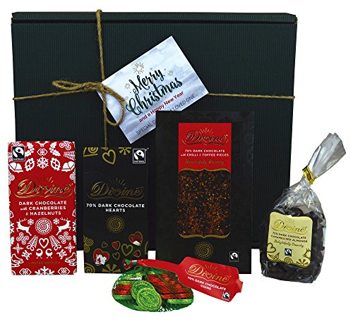 Divine Dark Christmas - Fairtrade Dark Chocolate Hamper - 70% Dark Chocolate Selection: Coins, Cranberries, Caramelised Almonds, Hearts, Chilli & Toffee - Includes Christmas Gift Box & Tags!