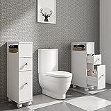 Style home Badschrank Beistellschrank Mehrzweckschrank Seitenschrank Landhausstil Schublade MDF Weiß