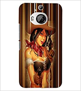 Printdhaba Gun Girl D-4528 Back Case Cover For Htc One M9 Plus