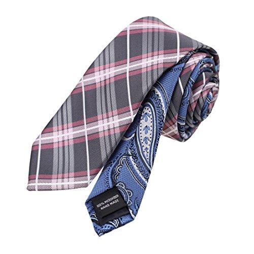 EAEF0061 Dim Grau Rosa Plaids Microfiber Mens Tie Inspire F¨¹r Mann Gemusterte Blau Doppelseitige Skinny Tie Von Epoint (Blaue Tie Skinny)