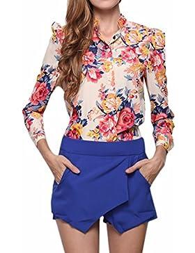 QIYUN.Z Manga Larga De Las Mujeres Impresas Florales Camisas De La Gasa Cuello De Solapa Camiseta Blusa