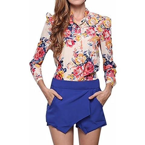 Manga Larga De Las Mujeres Impresas Florales Camisas De La Gasa Cuello De Solapa Camiseta Blusa