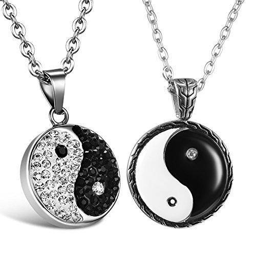 cupimatch 2Edelstahl Yin Yang Taichi Symbol Anhänger Paare Halskette mit 55,9cm Kette