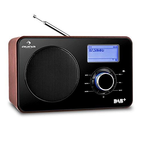 auna • Worldwide • Internetradio • Digitalradio • WLAN-Radio • Netzwerkplayer • LAN • DAB / DAB+ Tuner mit RDS • UKW / MW-Empfänger • MP3-USB-Port • AUX-Eingang • Breitbandlautsprecher • Wecker • Sleep-Timer • LCD-Display • Fernbedienung • Holz-Furnier • braun