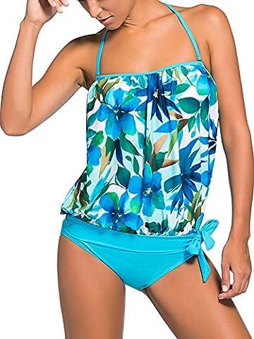 Minetom Été Confortable Femme Two Pièces Push Up Rembourré Maillot Plage Doux Bikini Tankinis Élégant Motif Floral Couleur Unie Bleu FR