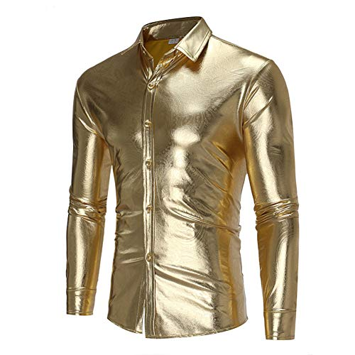 Nachtclub Metallic Silber Button Down Langarmshirts Shiny Tops Disco Dance Clubwear Halloween/Cosplay Kostüm für Herren,Gold,XL