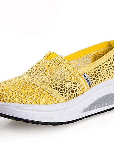 ZQ Scarpe Donna Pizzo Zeppa Plateau/Scarpette da culla Sneakers alla moda Tempo libero/Casual/Sportivo Blu/Giallo/Verde/Rosso/Grigio/Beige , yellow-us5.5 / eu36 / uk3.5 / cn35 , yellow-us5.5 / eu36 /  beige-us6.5-7 / eu37 / uk4.5-5 / cn37