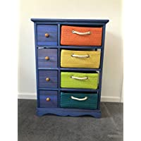 New Boys Bedroom Furniture Wicker Draws Unit Blue Storage Chest Children