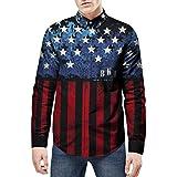 Manadlian Herren 3D Longshirt Hemd Mode Star Gedruckt Bluse Beiläufig Lange Ärmel Schlanke Hemden Gute Qualität Komfort Oberteilea