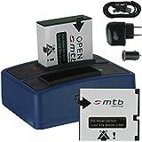 2x Batterie + Double Chargeur (USB/Auto/Secteur) pour Rollei DS-SD20 / Bullet 3S, 5S (WiFi) / AEE, Actionpro, BeastVision, Astak ...