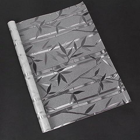 Fenster Film Dekorative Bambus Statische Glas Aufkleber Film gebeizt Glas für Office Sichtschutz Home Badezimmer Office Meeting Raum Wohnzimmer nicht klebend Kunststoff, Bamboo Middle, 18x39Inches