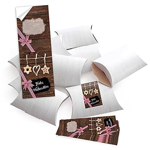 50 kleine Geschenkschachteln Geschenk-Boxen Kartons, weiß (14,5 x 10,5 + 3 cm Höhe) mit Aufkleber Banderole FROHE WEIHNACHTEN mit Stroh-Schmuck - selber basteln und befüllen - als Verpackung;