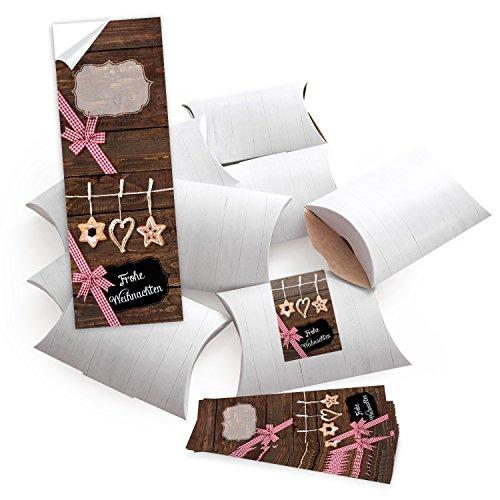 10 kleine Geschenkschachteln Geschenk-Boxen Kartons, weiß (14,5 x 10,5 + 3 cm Höhe) mit Aufkleber Banderole FROHE WEIHNACHTEN mit Stroh-Schmuck - selber basteln und befüllen - als Verpackung (Stroh-tasche Runde)