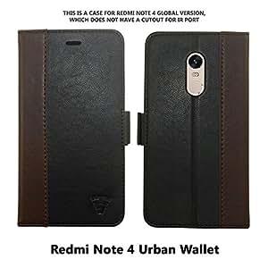 Tech Sense Lab Faux Leather Urban Wallet Case for Redmi Note 4 ,Black