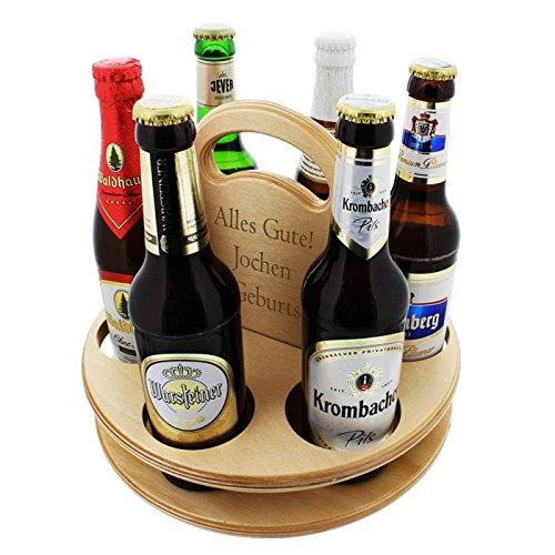 Der Holz-Bier-Träger für Feierfreunde mit Ihrer persönlichen Gravur - Die Geschenkidee für Männer