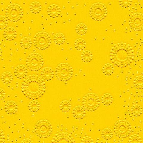 32 Cocktail servietten geprägt Momente Uni gelb (Moments uni yellow)1/4 gefalzt, 3-lagig, geprägt Größe offen: 25x25