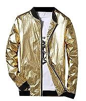 Fulok Men's Stylish Full Zip Sun-Protection Windbreakers Jackets Small Gold
