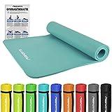 Gymnastikmatte Premium | inkl. Übungsposter | Hautfreundliche - Phthalatfreie Fitnessmatte - Cyan - 190 x 100 x 1,5 cm - sehr weich - extra dick | Yogamatte