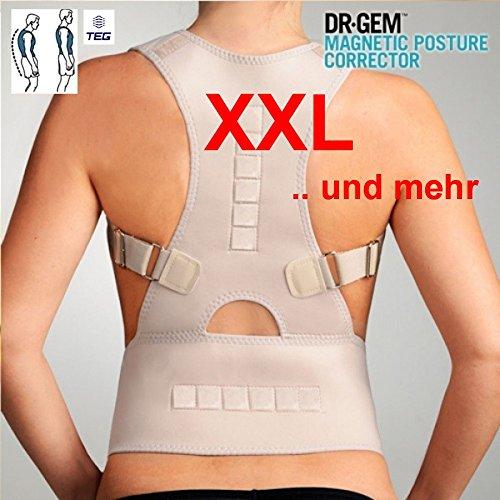 TEG533XL la función de enfriamiento y - encaja T-talla 'XXL i mas' - médico faja ortopédica para espalda estabilizador de recto soporte para de alta calidad de neopreno - espalda - con tirantes ajustables y 12 Imanes