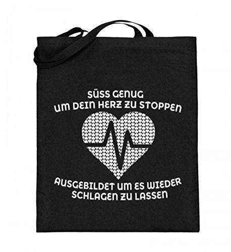 Hochwertiger Jutebeutel (mit langen Henkeln) - Krankenschwester Shirt · Geschenk für Pflegekräfte · Spruch: Süß genug Original