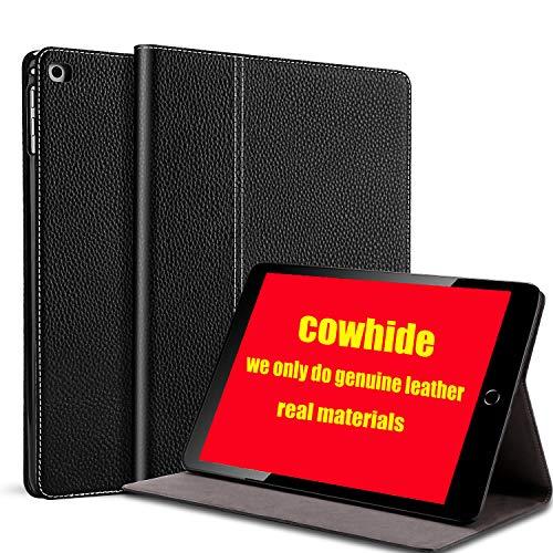 gexmil iPad 9.7 Inch 2018/2017 Hülle, Gilt Rindsleder Folio Hülle für iPad 6. Gen / 5. Gen Echt Leder, Gilt auch für iPad Air 2 / iPad Air,Litschischwarzes Leder -