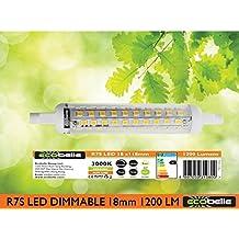 ECOBELLE® Lampadina LED R7s in Ceramica, 11W, 1200 Lumen, Bianco Caldo 3000K, Con Funzione Dimmer, Dimesioni 18 x 118 mm (Diametro Sottile Linea Slim)