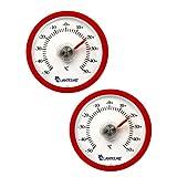 Lantelme 2 Stück Set Rundes Bimetall Analog Klebe Kühlschrankthermometer Kunststoff Farbe rot