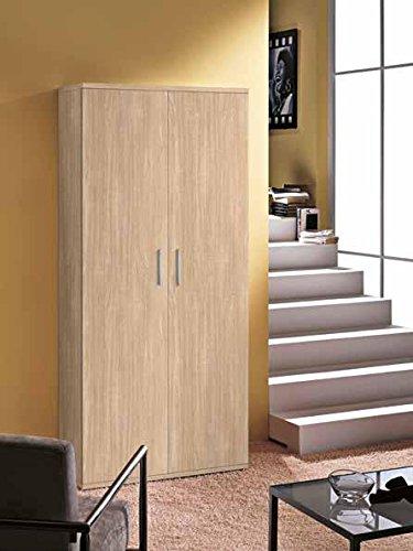 Inhouse srls armadio moderno in legno con 6 ripiani regolabili a 2 ante, quercia, 80x36 178h.