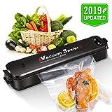 Machine Sous Vide, ERAY Appareils de Mise Sous Vide Automatique Portable pour Sceller Aliments, 2 Fonctions/LED Voyants/ 15 Sacs Fournis 20x25cm - Noir