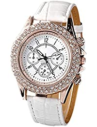 Women's Crystal Decorated Analog Quartz PU Leather Wrist Watch White