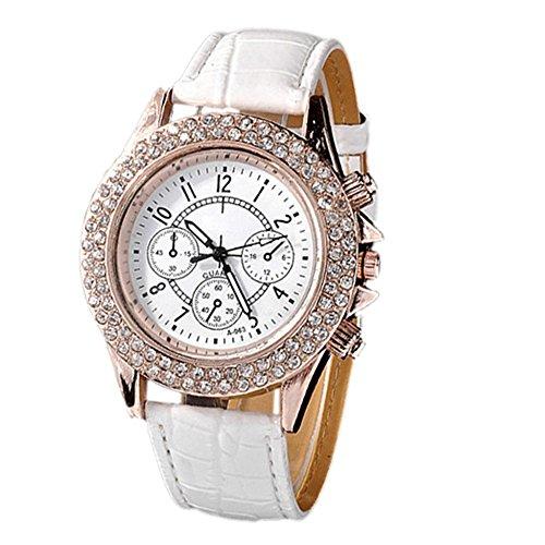 Damen Mädchen Strass Racing Stil Analog Quarz PU-Leder Armbanduhr Watch Weiß