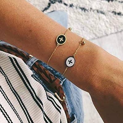 Bracelet petite Croix en acier inoxydable Blanche/Noir - Médaille croix émaillée