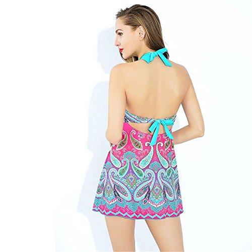 Frauen-Split-Rock Bikini Split Badeanzug Pink