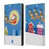 Head Case Designs Santa in Seinem Schlitten Fröhliche Weihnachts Cartoons Brieftasche Handyhülle aus Leder für Amazon Fire HD 8