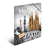 Herma 7269 Sammelmappe DIN A4 Kunststoff, Motiv Spanien Barcelona, Serie Städte, Eckspanner, 1 Zeichenmappe